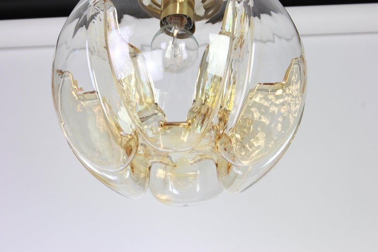 Late 20th Century 1 of 2 Murano Ball Pendant Light by Doria, Germany, 1970s For Sale