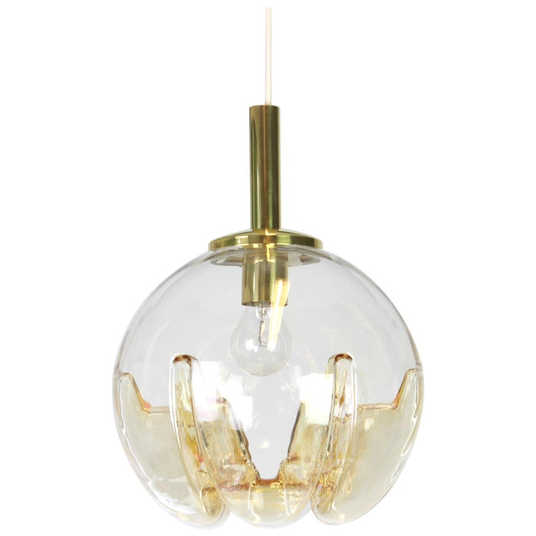 1 of 2 Murano Ball Pendant Light by Doria, Germany, 1970s For Sale