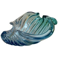 Murano Barbini Sommerso Blue Italian Art Glass Seashell Bowl