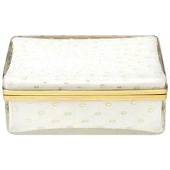 Murano Barovier e Toso Gold Aventurine Hinged Glass Box Mid-Century Modern
