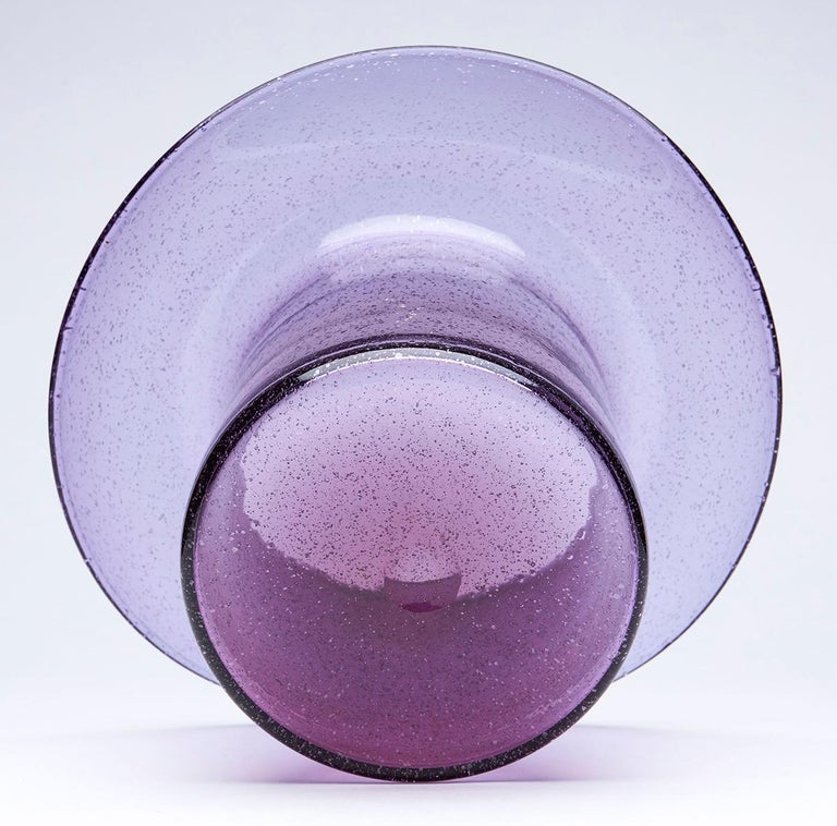 Blown Glass Vintage Murano Barovier & Toso Amethyst Glass Top Hat Vase, circa 1975 For Sale