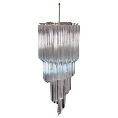 Murano Big Chandelier in the Manner of Venini, 54 Quadriedri Prisms