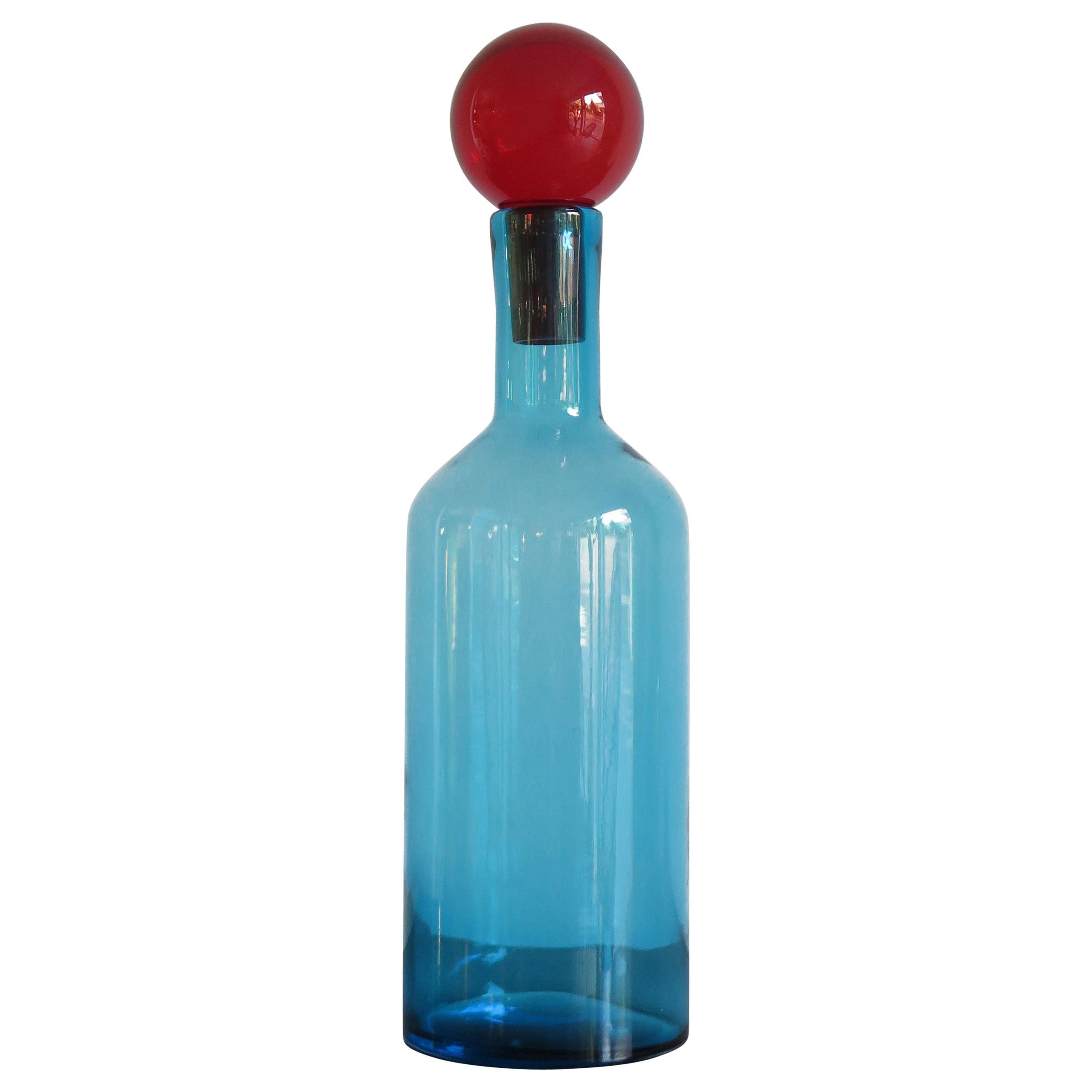 Murano Big Italian Modern Light Blue Blown Glass Bottle Vase, 2000s