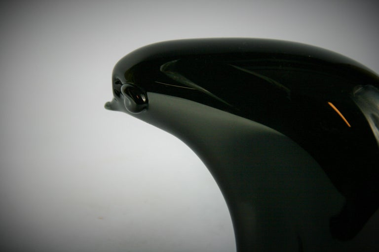 Late 20th Century Murano Black Art Glass Bear Sculpture For Sale