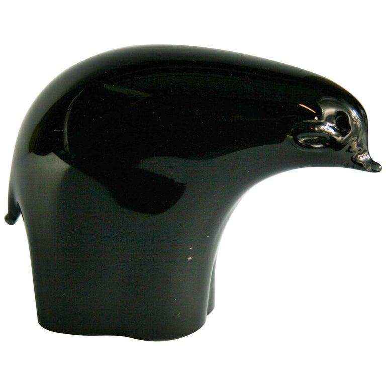 Murano Black Art Glass Bear Sculpture For Sale
