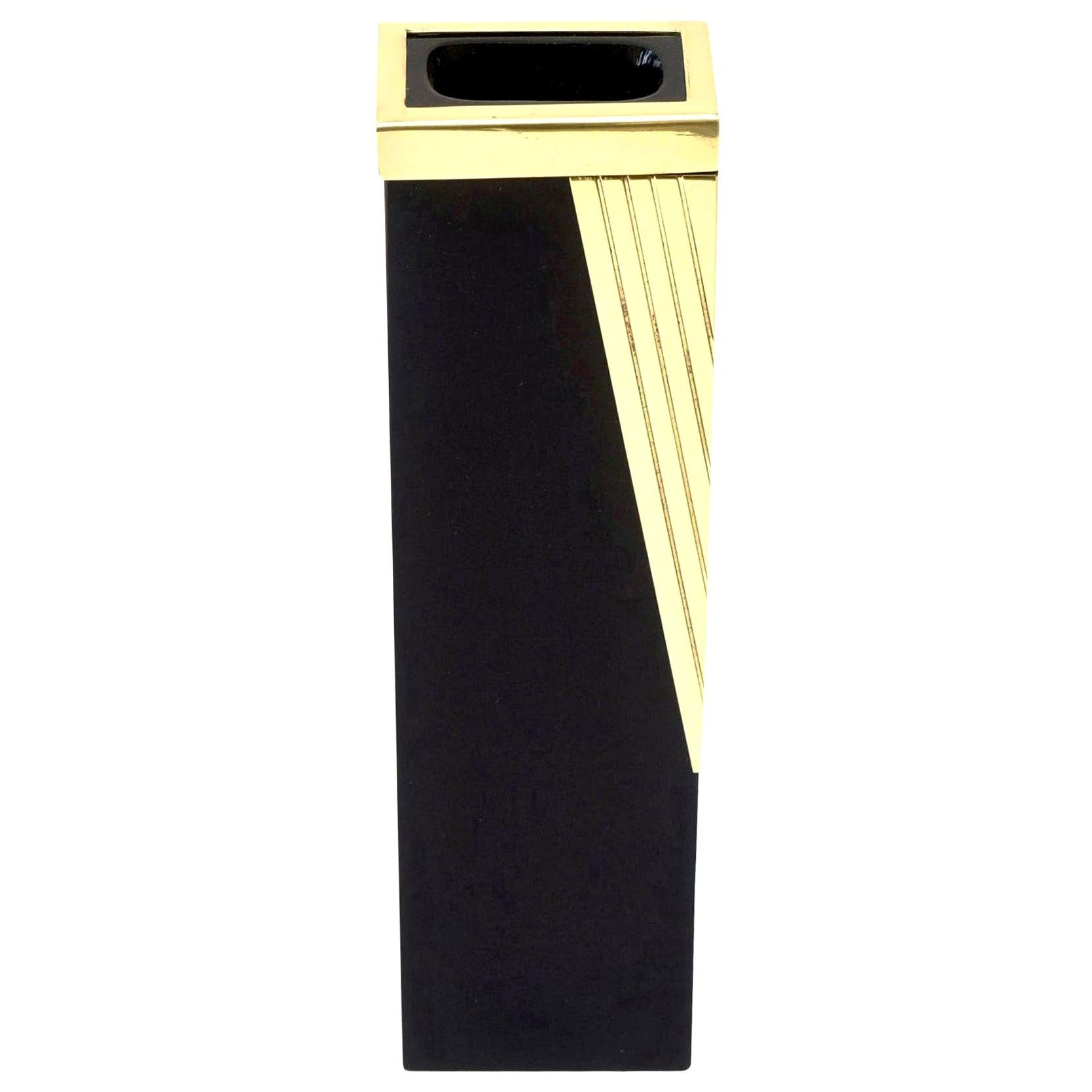 Murano Black Glass and Brass Draped Vase or Bud Vase Vintage Italian