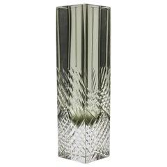 Murano Block Vase in Smokey Anthracite Handcut with Diagonal Lines