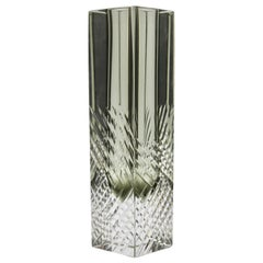 Murano Block Vase in Smokey Anthracite Handcut with Diagonal Lines