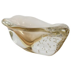 Murano Blown Citron Irregular Shaped Oblong Bowl, Contemporary