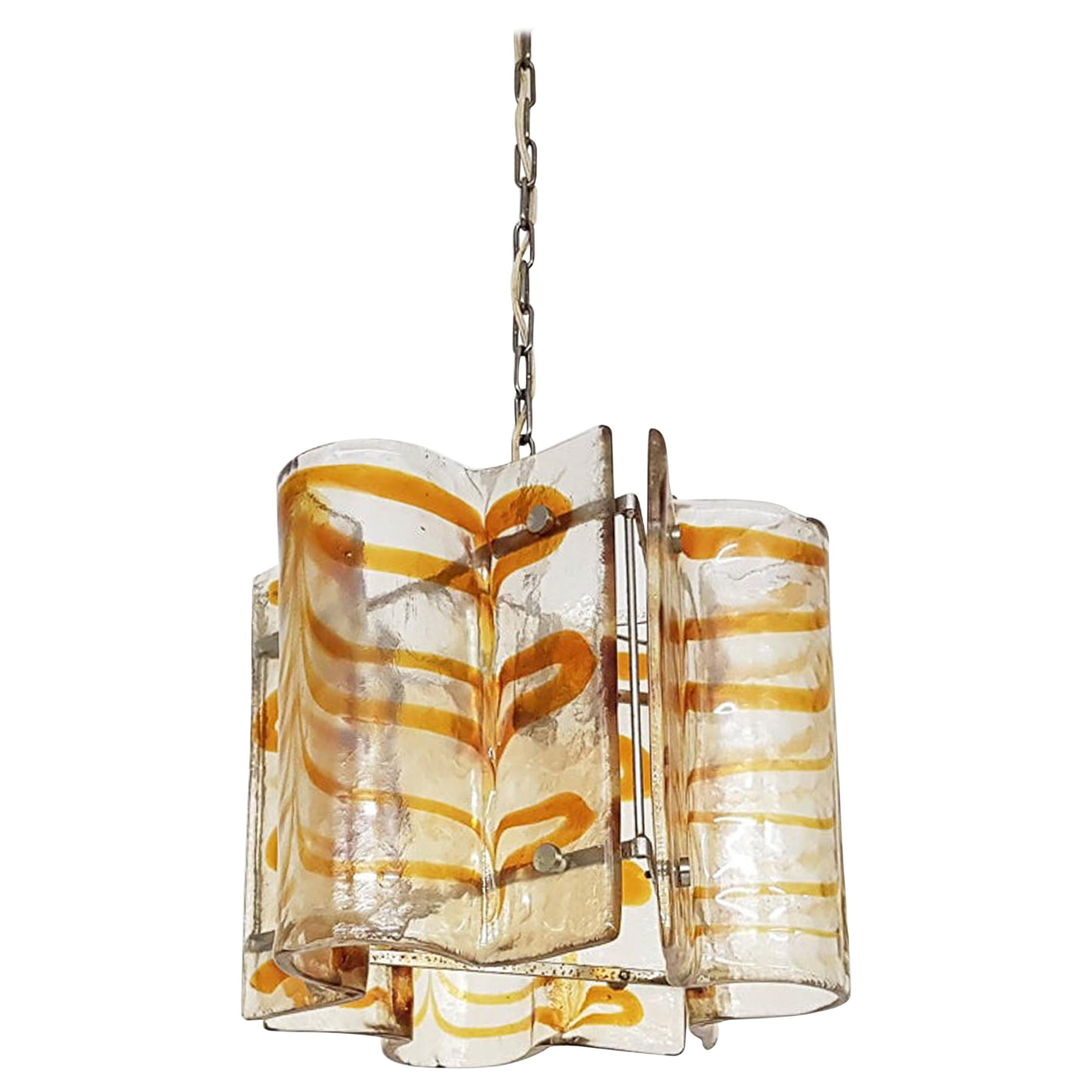 Murano Blown Glass Chandelier Atributed to Carlo Nason for Mazegga, Italy, 1960s