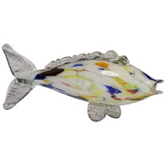 Murano Blown Glass Fish Multi-Color Figurine