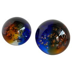 Murano Blue and Amber Controlled Bubble Paperweight by Galaxy D'Arte
