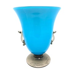 Murano Blue and Smoked Art Glass Urn Vase, Signed by Roberto Rossi, Italy