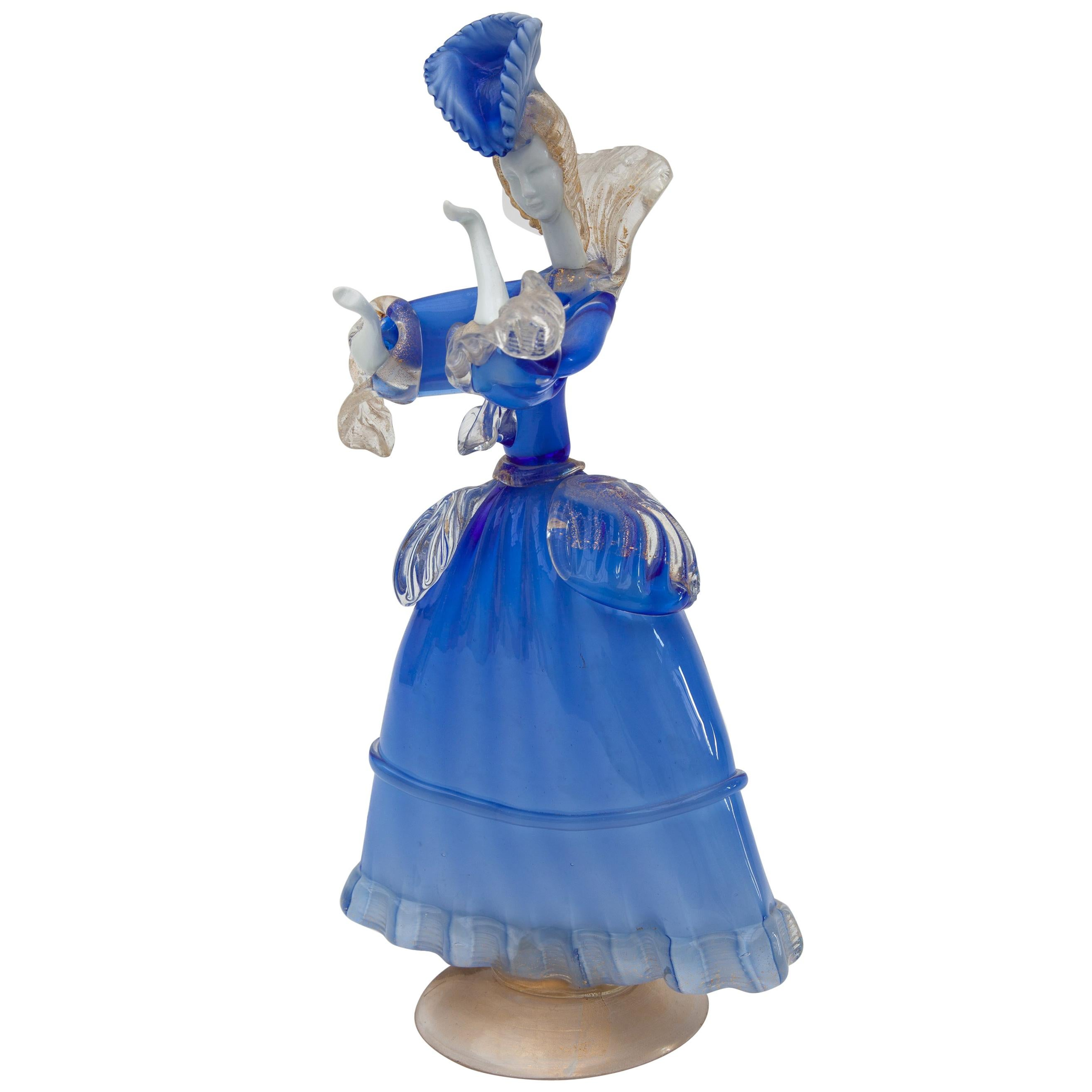 Murano Blue and White Opal Art Glass Victorian Lady Sculpture, Italy, 1960s
