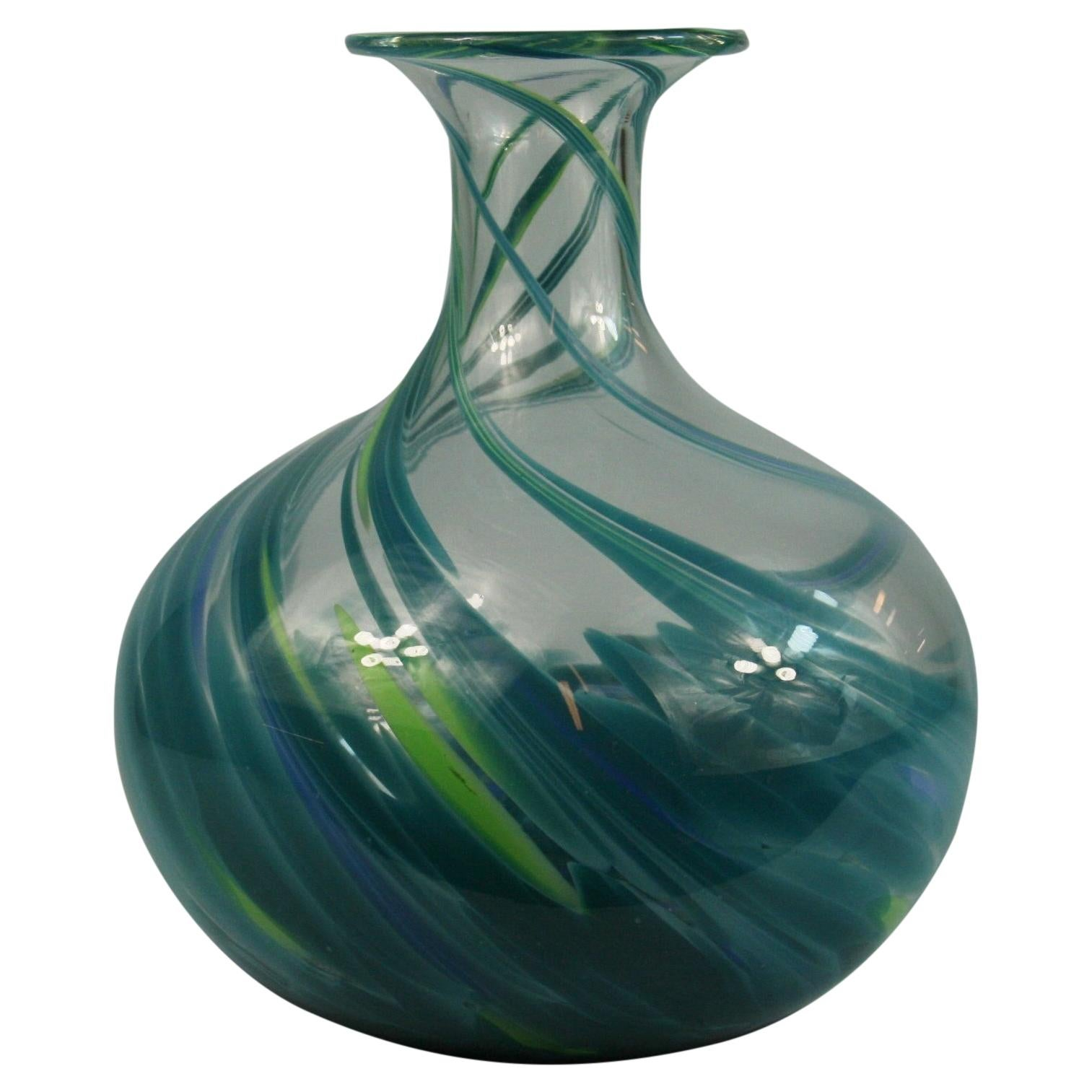 Murano Blue Aqua Green Art Glass Vase