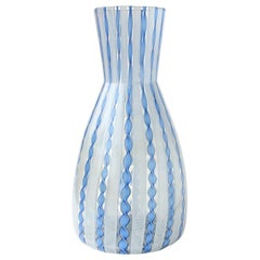 Murano Blue Aventurine White Zanfirico Ribbons Italian Art Glass Flower Vase