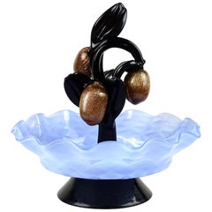 Murano Blue Bowl Black Leafs Aventurine Fruit Italian Art Deco Glass Sculpture