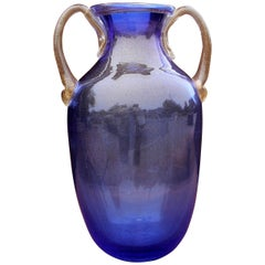 Murano Blue Glass Two Handle Vase