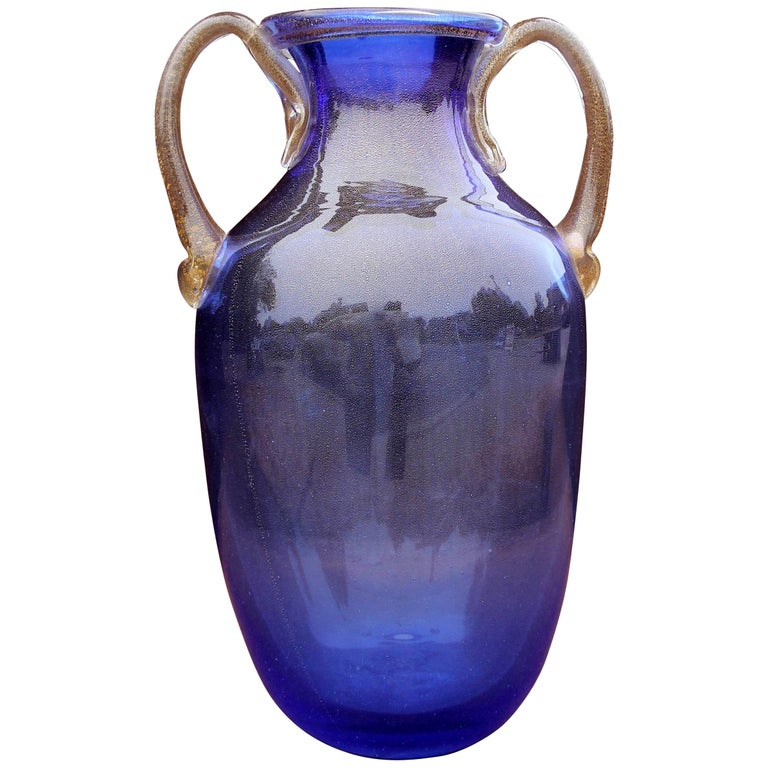 Murano Blue Glass Two Handle Vase For Sale