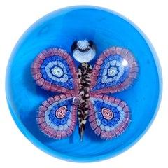 Murano Blue Millefiori Flower Mosaic Italian Art Glass Butterfly Paperweight