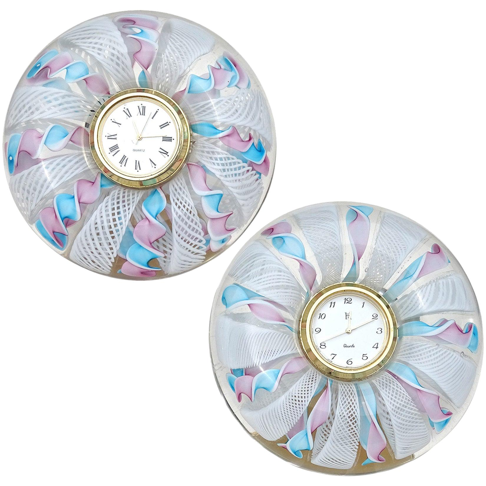 Murano Blue Pink White Ribbons Italian Art Glass Decorative Round Desk Clock
