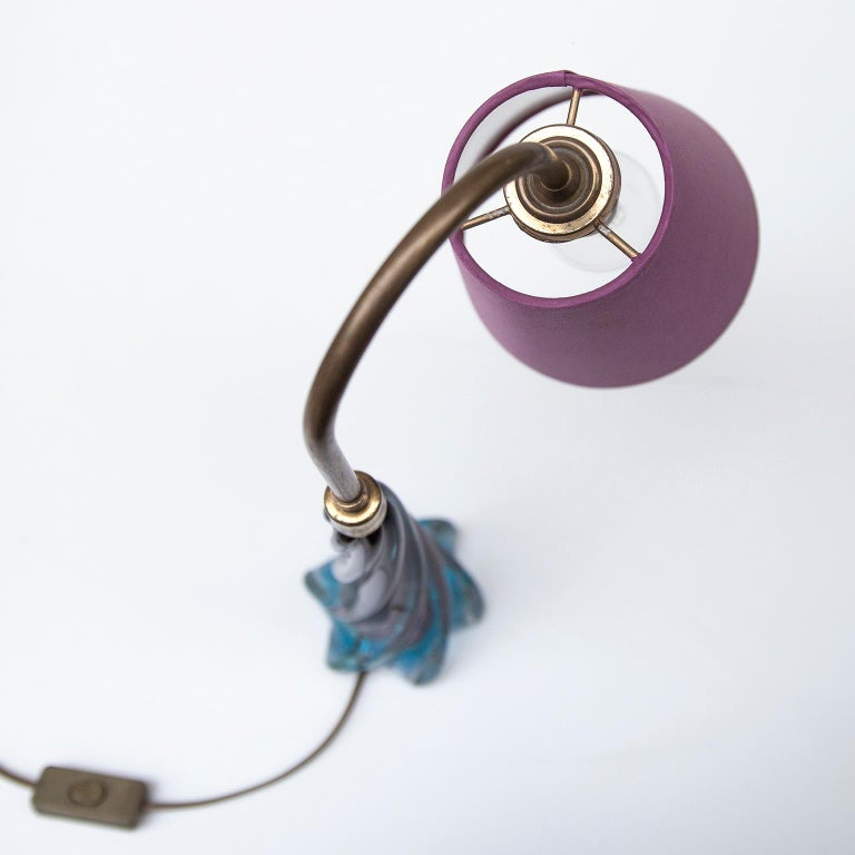 Mid-20th Century Murano Blue Purple Glass Table Lamp, 1950s For Sale