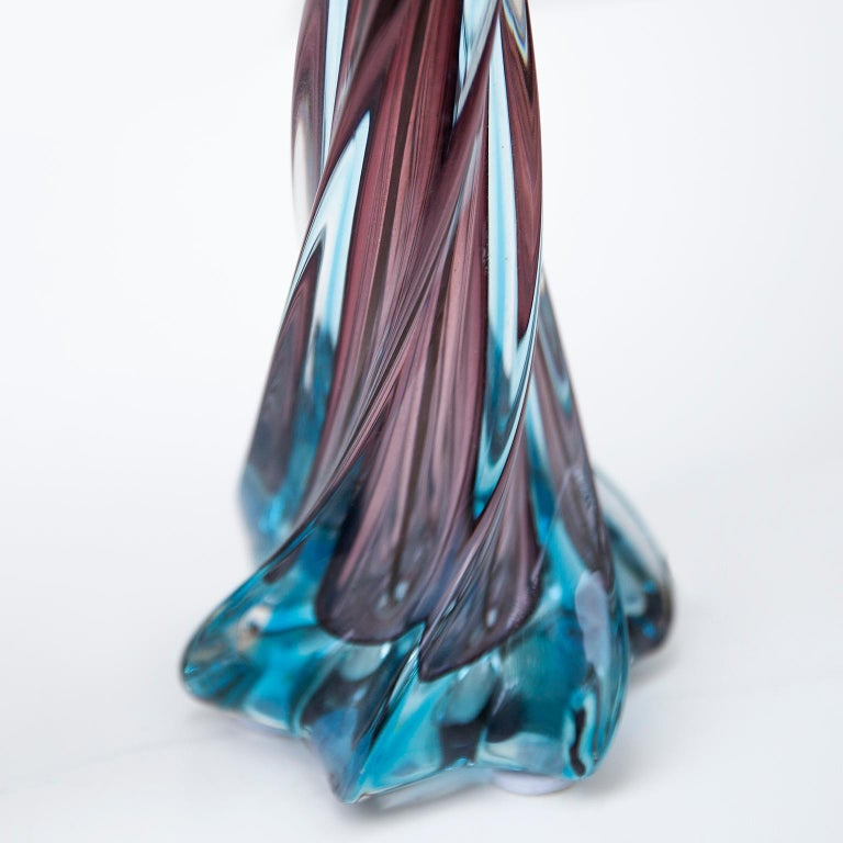 Brass Murano Blue Purple Glass Table Lamp, 1950s For Sale