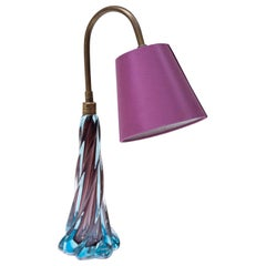 Murano Blue Purple Glass Table Lamp, 1950s