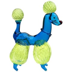 Murano Blue Quilted Uranium Fur Italian Art Glass Puppy Dog Poodle Sculpture