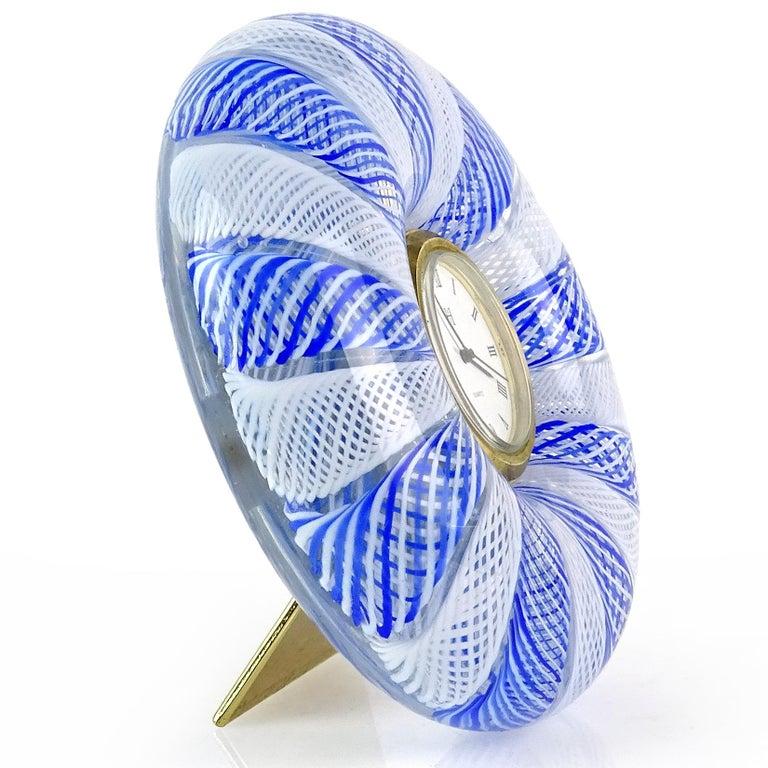 Mid-Century Modern Murano Blue White Net Ribbons Italian Art Glass Decorative Round Desk Clock