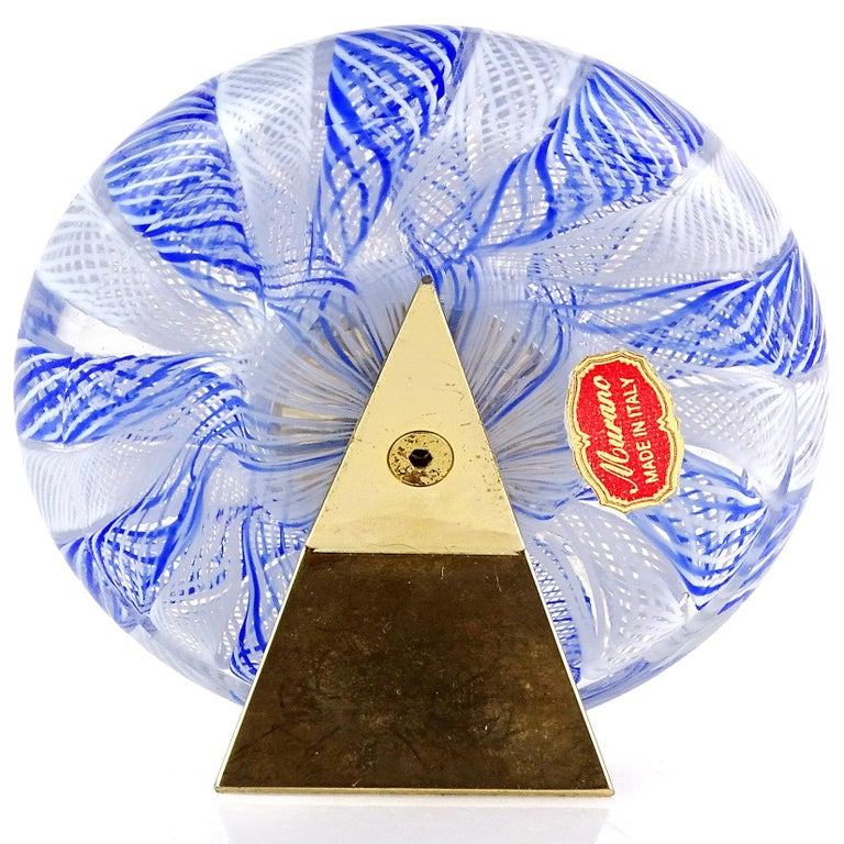 Hand-Crafted Murano Blue White Net Ribbons Italian Art Glass Decorative Round Desk Clock
