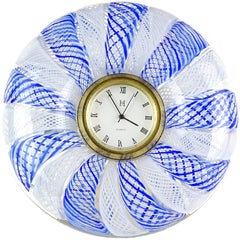 Murano Blue White Net Ribbons Italian Art Glass Decorative Round Desk Clock