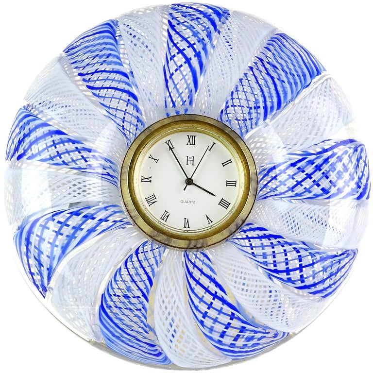 Murano Blue White Net Ribbons Italian Art Glass Decorative Round Desk Clock
