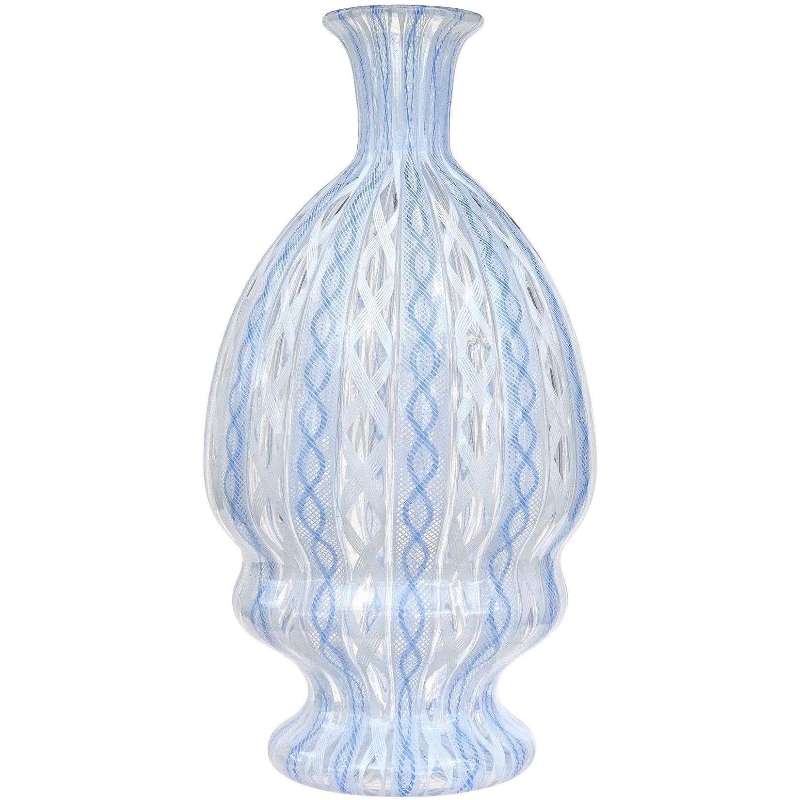 Murano Blue White Zanfirico Ribbons Italian Art Glass Specimen Flower Vase