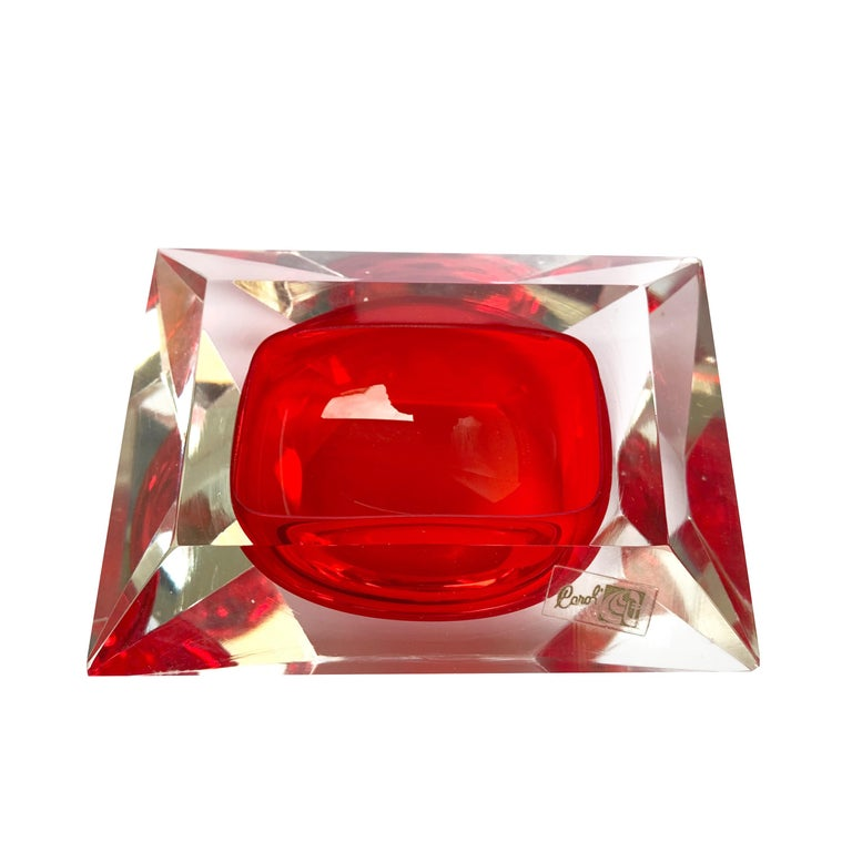Murano bowl, Flavio Poli, submerged glass. Cut and ruby color, Italy, 50s For Sale 5