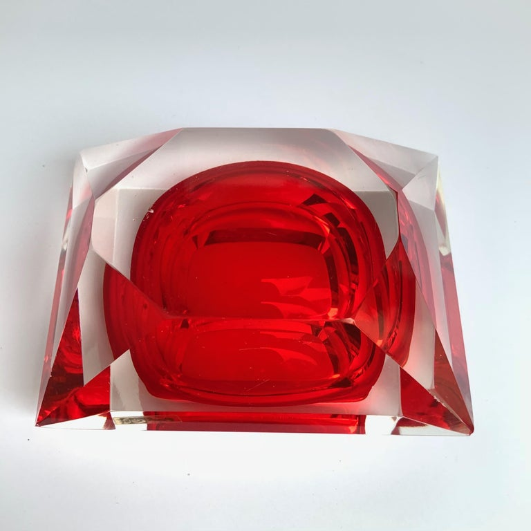Murano bowl, Flavio Poli, submerged glass. Cut and ruby color, Italy, 50s For Sale 7