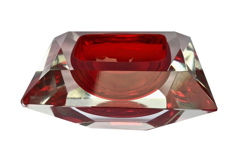 Murano bowl, Flavio Poli, submerged glass. Cut and ruby color, Italy, 50s For Sale 8