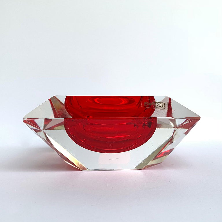 Italian Murano bowl, Flavio Poli, submerged glass. Cut and ruby color, Italy, 50s For Sale