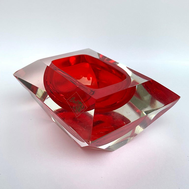 Murano bowl, Flavio Poli, submerged glass. Cut and ruby color, Italy, 50s In Good Condition For Sale In Roma, IT