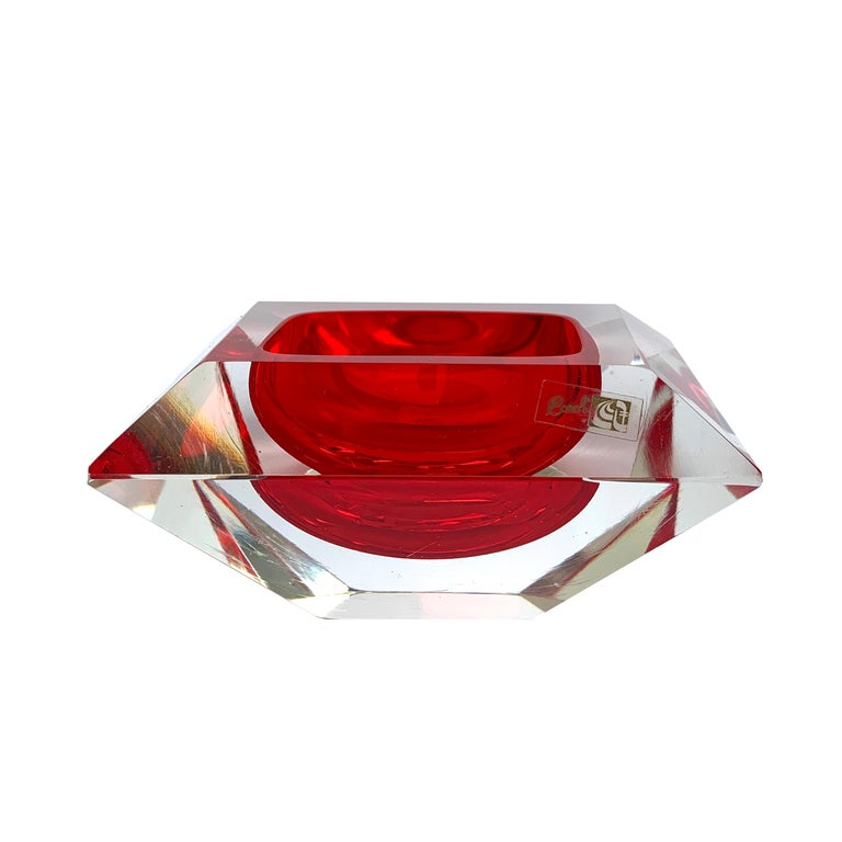Murano bowl, Flavio Poli, submerged glass. Cut and ruby color, Italy, 50s For Sale