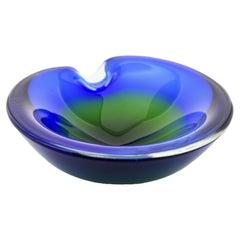 Murano Bowl in Cobalt Blue Mouth Blown Art Glass, Italian Design, 1960s