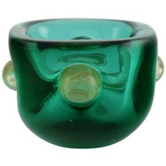 Murano Bowl in Green and Gold-Colored Mouth-Blown Art Glass, 1960s