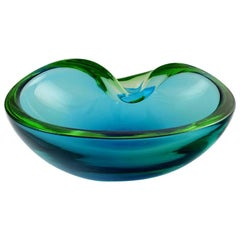 Murano Bowl in Light Blue Mouth Blown Art Glass, Italian Design, 1960s