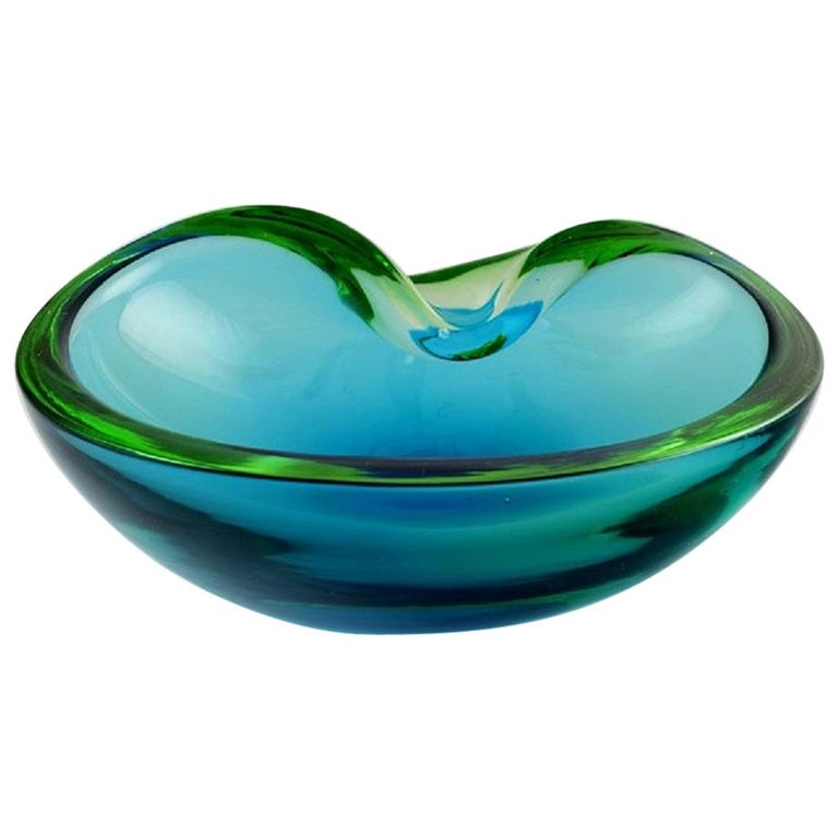 Murano Bowl in Light Blue Mouth Blown Art Glass, Italian Design, 1960s For Sale