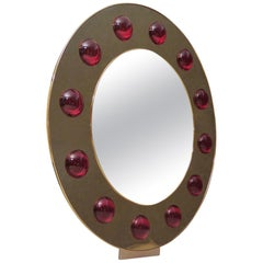 Murano Brass and Red Art Glass Midcentury Wall Mirror, 1980