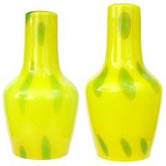 Murano Bright Yellow Green Vintage Italian Art Glass Hanging Pendant Lamp Set