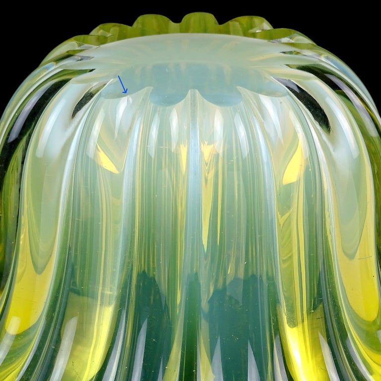 20th Century Murano Bright Yellow Opalescent Italian Art Glass Midcentury Center Bowl Vase For Sale