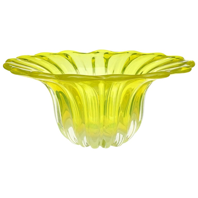 Murano Bright Yellow Opalescent Italian Art Glass Midcentury Center Bowl Vase For Sale