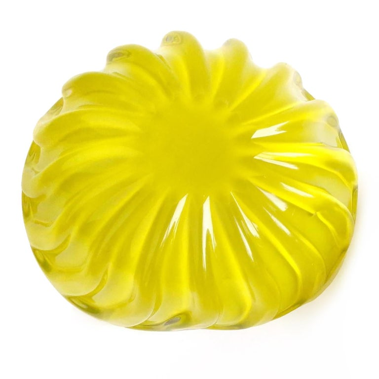 Hand-Crafted Murano Bright Yellow over Black Italian Art Glass Decorative Ribbed Candy Bowl