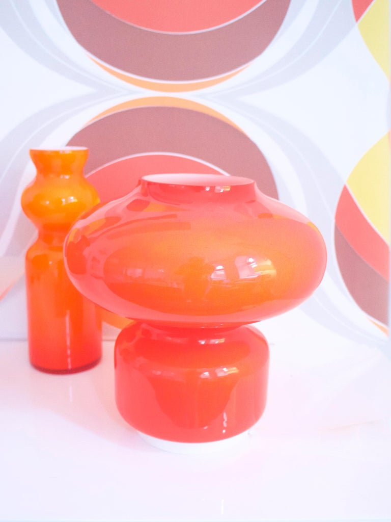 Murano cased glass Space Age orange table lamp Mazzega 1970s   Space Age design captured the optimism and faith in technology that was felt by much of society during the 1950s and 1960s. Space Age design also had a more vernacular character,